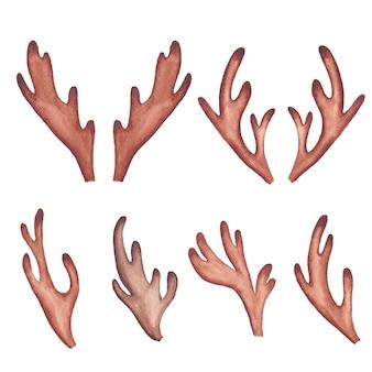 Chifres de rena em aquarela. clip-art em aquarela de chifre de veado, boho, chifres