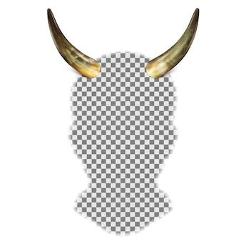 Chifres de touro na cabeça de uma silhueta de cabeça humana.