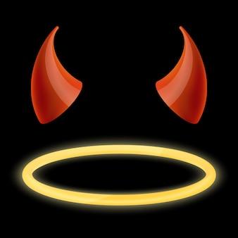 Chifres do diabo e halo de anjo.