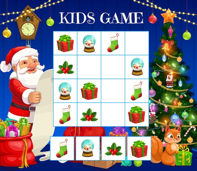 Child christmas rebus lógico, crianças palavras cruzadas