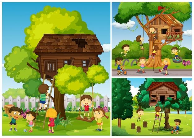 Childern jogando na casa da árvore