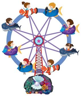 Childrend, montando, roda gigante, com, carrinhos peixe