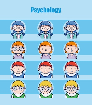Childrens psychology cartoons vector design gráfico de ilustração