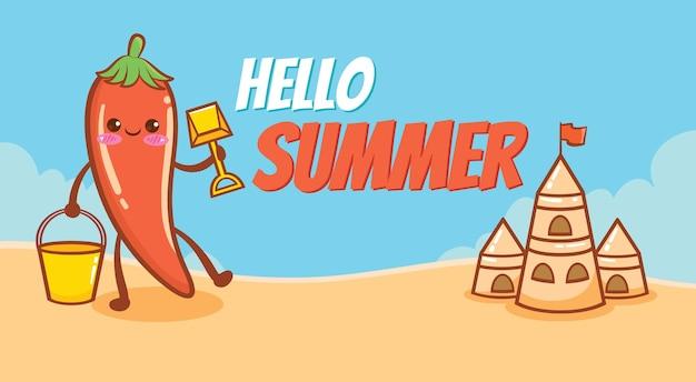 Chili fofo segurando uma pá de areia com uma bandeira de saudação de verão