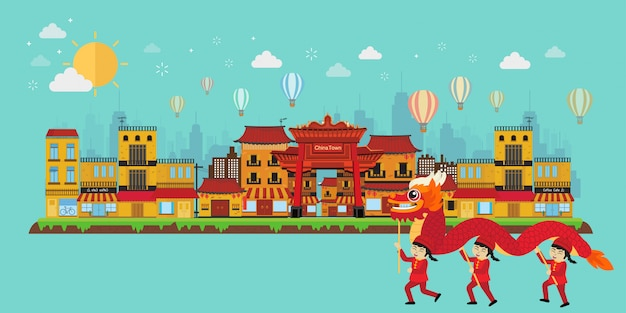 China conceito de viagens com marcos da china