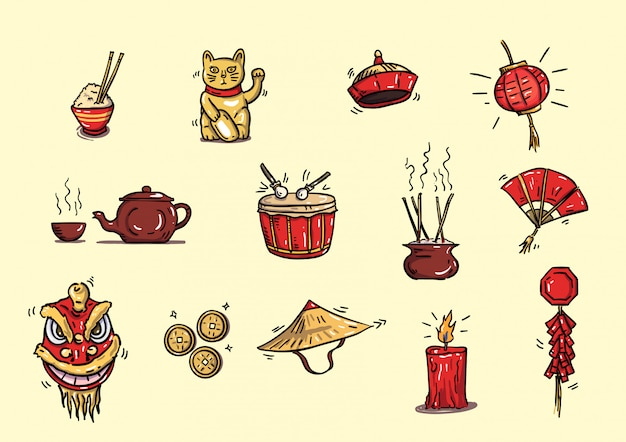 China ícone de objeto handdrwan