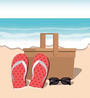 Chinelos de verão no design da praia