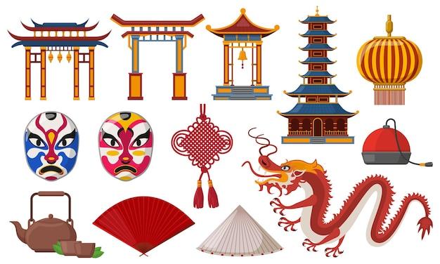 Chinês tradicional. conjunto de elementos tradicionais da cultura asiática, pagode, lanterna e ilustração de dragão