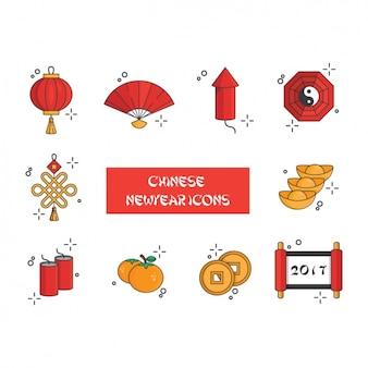 Chinise novos ícones ano