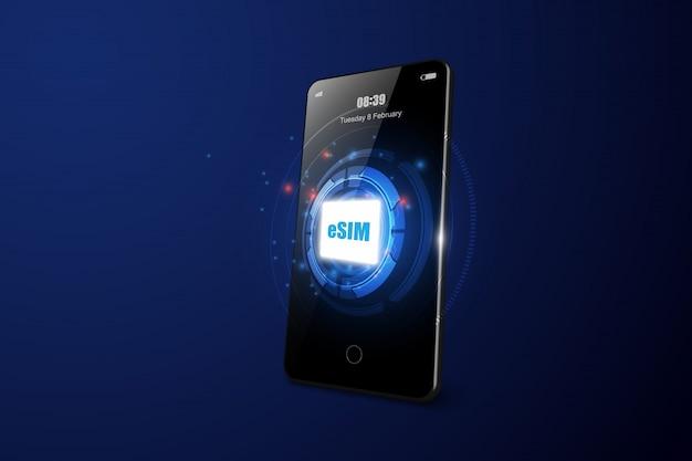 Chip de cartão esim no smartphone realista