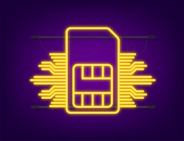 Chip de cartão sim para celular. ícone de néon. ilustração em vetor das ações.