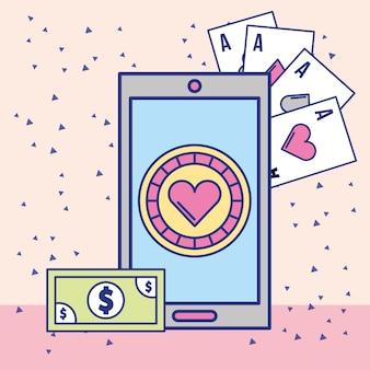 Chip de cassino de smartphone e cartão de dinheiro ases app design de imagem