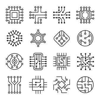 Chip de computador. conjunto de ícones de placa de sistema de computador de micro esquema eletrônico de engenharia.