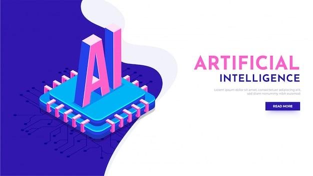 Chip do processador para o conceito de inteligência artificial (ai).