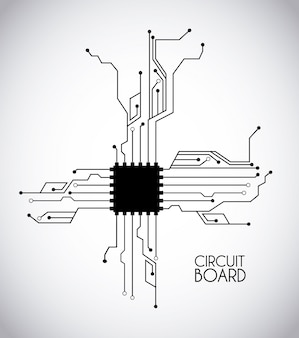Chip e circuito sobre ilustração vetorial de fundo branco