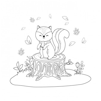 Chipmunk fofinho no personagem de floresta de campo