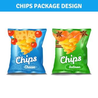 Chips pacote de cor para queijo e salmão gosto realista