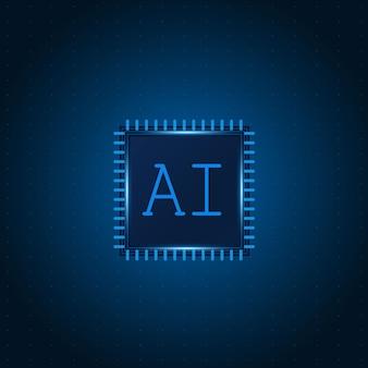 Chipset de inteligência artificial ai na placa de circuito futurista