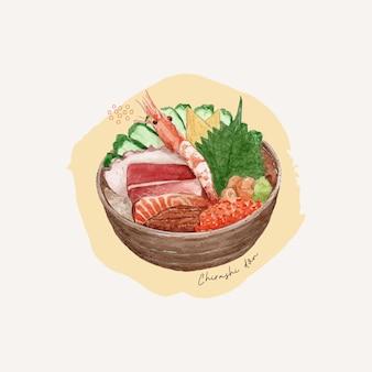Chirashi don, mão desenhar vetor de cor de água. comida japonesa.