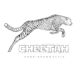 Chita correndo rápido. ilustração animal desenhada à mão