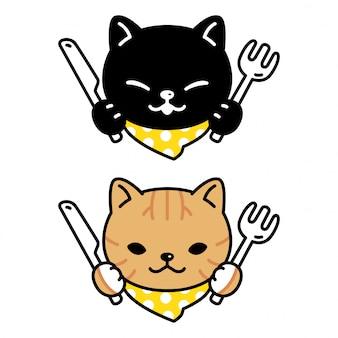 Chita de gatinho de personagem de gato comendo comida dos desenhos animados