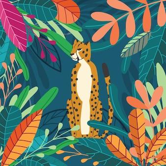Chita de gato grande selvagem exótico bonito sentado no fundo tropical escuro com coleção de plantas exóticas. ilustração plana
