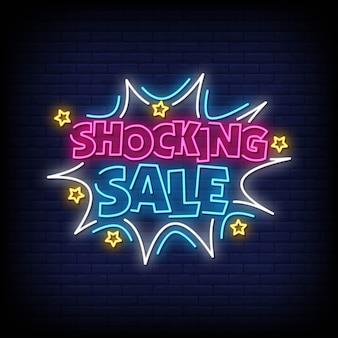 Chocante venda sinais de néon estilo texto vector