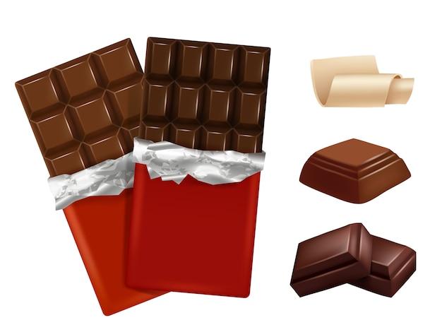 Chocolate branco e escuro.