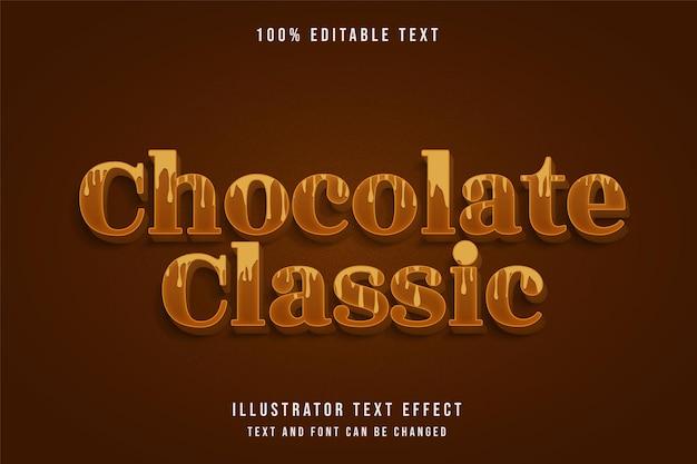 Chocolate clássico, efeito de texto editável gradação amarela estilo de texto sombra marrom