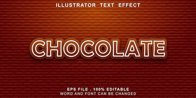 Chocolate com efeito de texto editável