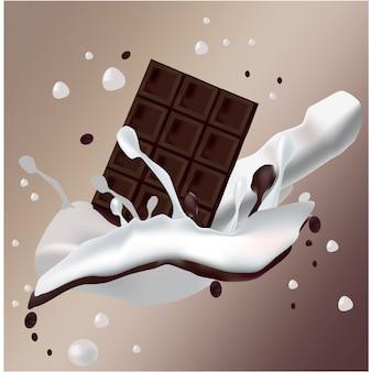 Chocolate com respingo de respingo de leite