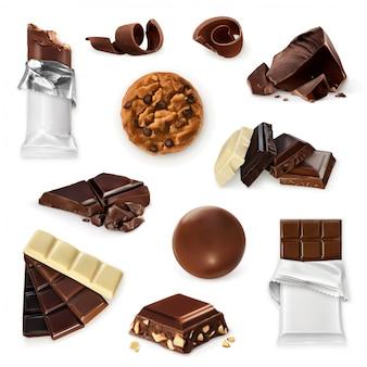 Chocolate. conjunto doce, biscoitos, doces, barra, pedaços