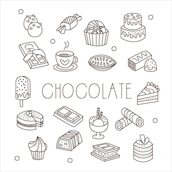 Chocolate e doces no estilo handdrawn