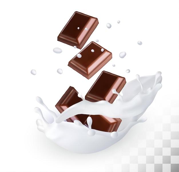 Chocolate em um respingo de leite em um fundo transparente