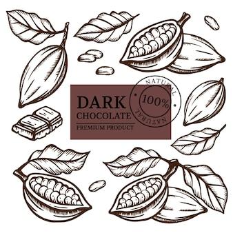 Chocolate escuro e grãos de cacau de theobroma tree design monocromático