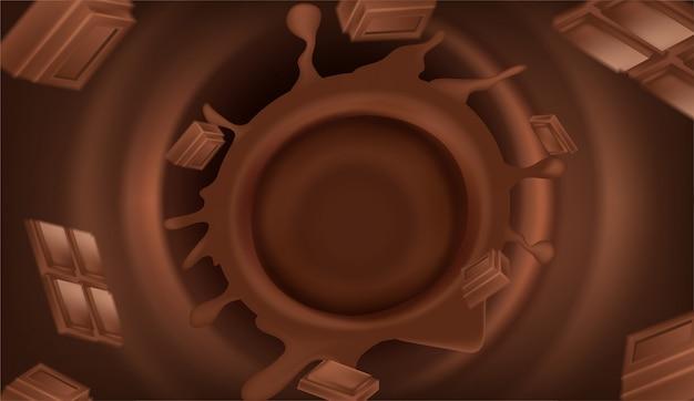 Chocolate escuro realista de vetor