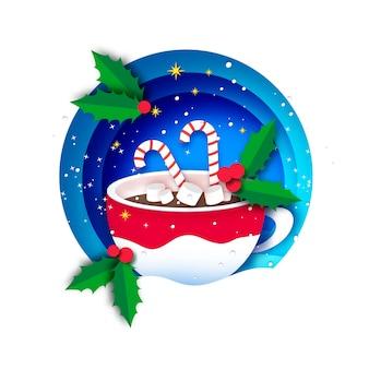 Chocolate quente com marshmallows e bastão de doces fofo. caneca de café de natal com bebida quente de chocolate. copa sobre fundo azul. saudações calorosas. feliz ano novo. feliz natal.