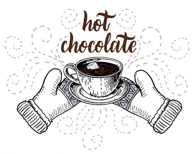 Chocolate quente com marshmallows em um esboço de caneca. item de elemento de design de cartão de férias de inverno isolado sobre fundo branco.