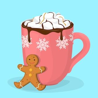 Chocolate quente ou cacau em copo vermelho. caneca com bebida quente e biscoito de gengibre. cacau quente na época do natal. sobremesa deliciosa. ilustração