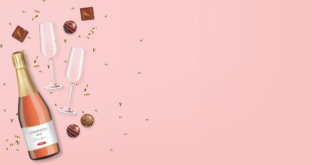 Chocolate realista, champanhe e luzes, deliciosa sobremesa, dia dos namorados, amor, coleção de bombons de chocolate vista superior, fundo rosa champanhe