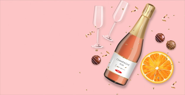 Chocolate realista, champanhe rosa, confete ouro, dia dos namorados laranja, festa, fundo rosa, conceito de amor, romântico