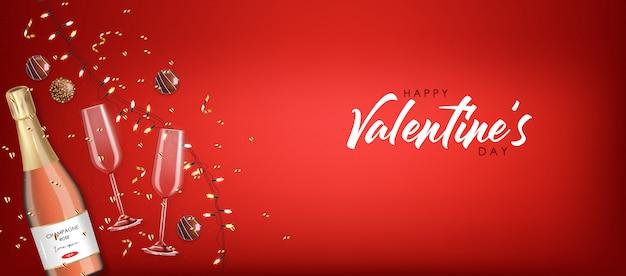 Chocolate realista, champanhe rosa e luzes, confetes ouro, dia dos namorados, festa, fundo vermelho, conceito de amor, romântico