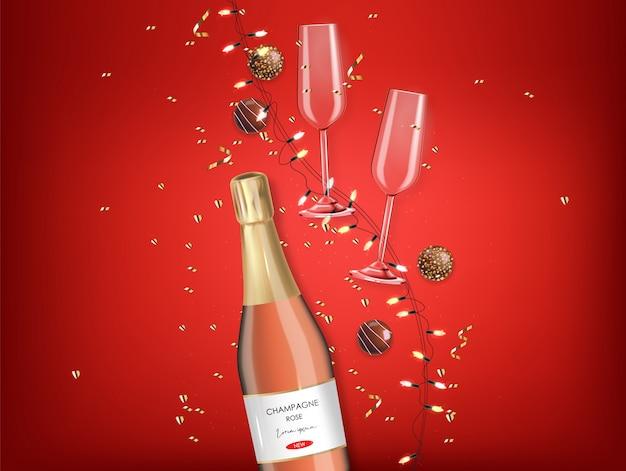 Chocolate realista, champanhe rosa e luzes, confetes ouro, dia dos namorados, festa, fundo vermelho, conceito de amor