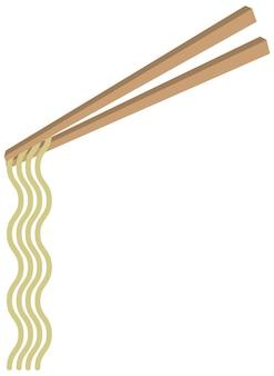 Chopsticks com noodles em estilo cartoon