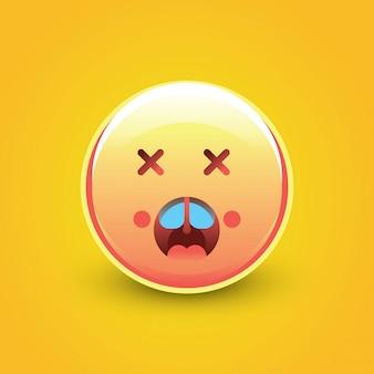 Choque de rosto emoji com fundo amarelo