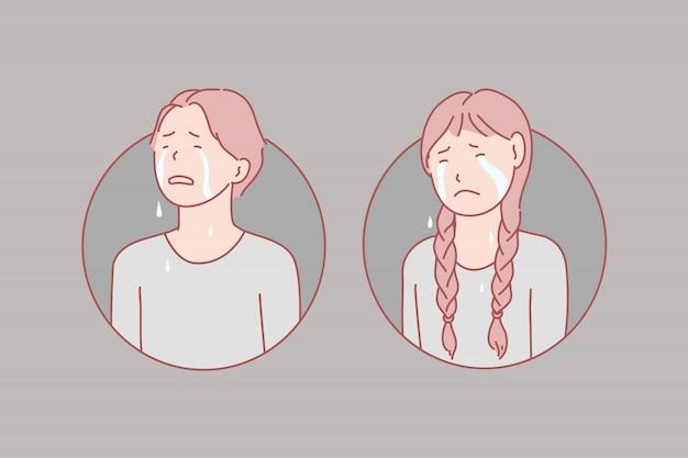 Chorando, crianças, estresse, ilustração de lágrimas