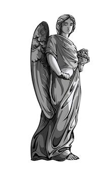 Chorando orando escultura de menina anjo com asas. ilustração monocromática da estátua de um anjo. isolado.