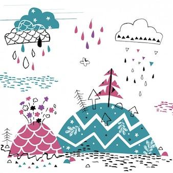 Chovendo na montanha