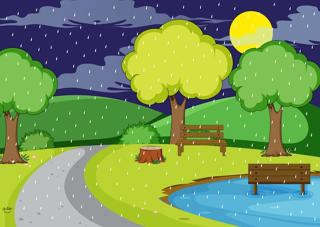 Chovendo noite no parque