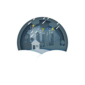 Chovendo o dia na cidade. fundo de monção de temporada de chuva.